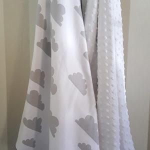 Baby Cot Blanket Minky - Cloud Design